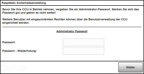 RaspMatic Sicherheitseinstellung